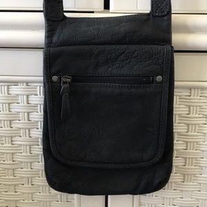 J. Jill black genuine leather crossbody flap